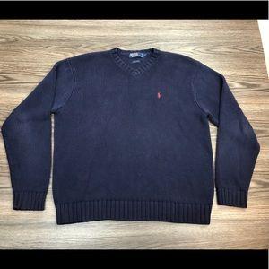 Polo Ralph Lauren Navy Blue V-Neck Sweater L